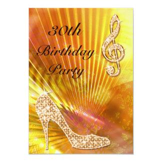Sparkly orange musik noterar & stilett30års personliga inbjudningskort