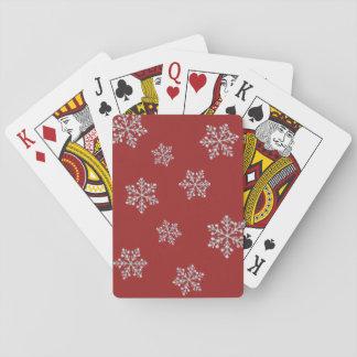 Sparkly röd Crystal snöflingor som leker kort Spel Kort