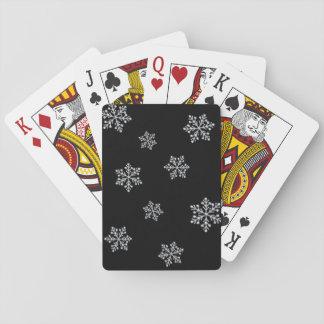 Sparkly svart Crystal snöflingor som leker kort Kortlek