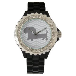 Sparrar för grått för trendig för Wienerhundklocka Armbandsur