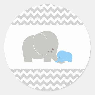 Sparre för baby shower för babyelefantklistermärke runt klistermärke