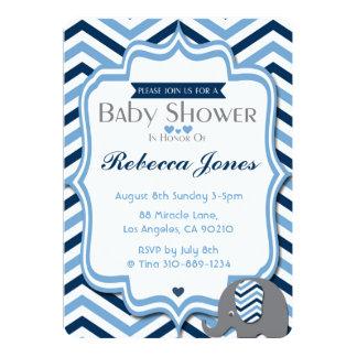 Sparre för blått för pojke för elefantbaby 12,7 x 17,8 cm inbjudningskort