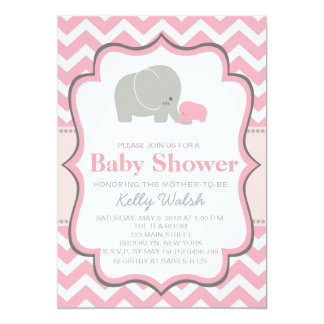 Sparre för elefantbaby showerinbjudningar 12,7 x 17,8 cm inbjudningskort