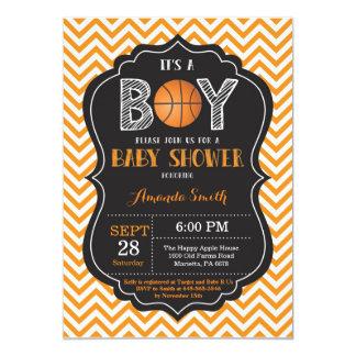 Sparre för orange för basketbaby showerinbjudan 12,7 x 17,8 cm inbjudningskort