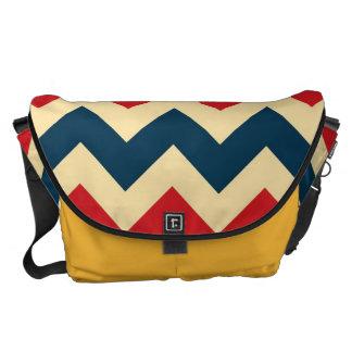 SparreZigzap för blått rött mönster Kurir Väska