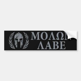 Spartansk hjälm för Molon Labe Grunge Bildekal