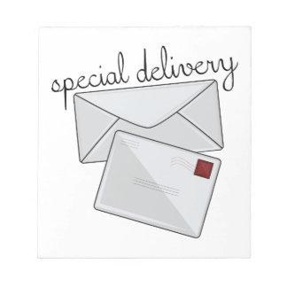 Speciell leverans anteckningsblock