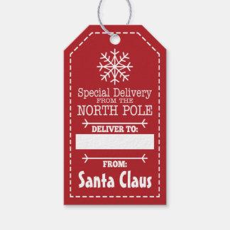 Speciell leverans från nordpolenen och jultomten presentetikett