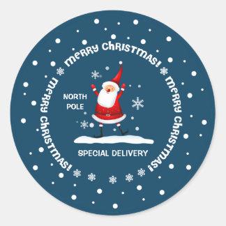 Speciell leverans från nordpolenjulklistermärke runt klistermärke