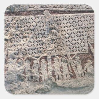 Specificera av en bildsten som visar en Viking Fyrkantigt Klistermärke