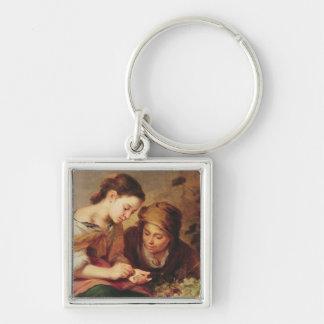 Specificera av lite Frukt-Säljare, 1670-75 Fyrkantig Silverfärgad Nyckelring