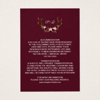 Specificerar gifta sig för Burgundy Marsala blom- Visitkort