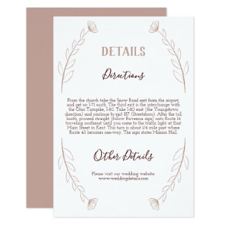 Specificerar modernt bröllop för rosa guld- 8,9 x 12,7 cm inbjudningskort