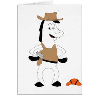 Spelare för basket för tecknadCowboyhäst Hälsningskort