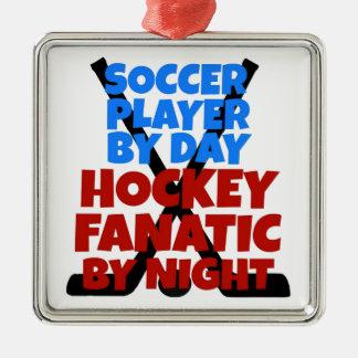 Spelare för hockeyälskarefotboll julgransprydnad metall