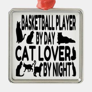 Spelare för kattälskarebasket julgransprydnad metall