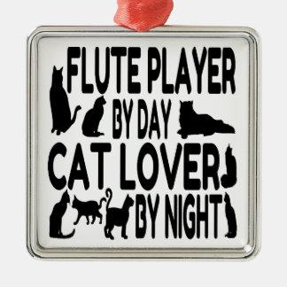 Spelare för kattälskareflöjt julgransprydnad metall