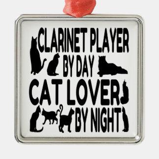 Spelare för kattälskareklarinett julgransprydnad metall