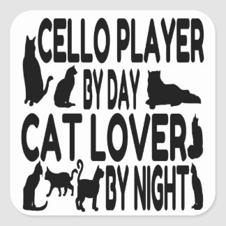 Spelare för kattälskarevioloncell fyrkantigt klistermärke