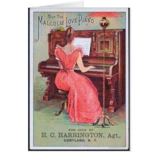 Spelare för rosaklänningpiano hälsningskort