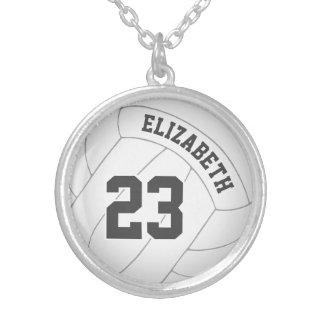 spelare för volleybollhalsbandw namn/jersey silverpläterat halsband