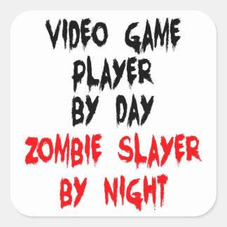 Spelare för ZombieSlayervideospel Fyrkantigt Klistermärke