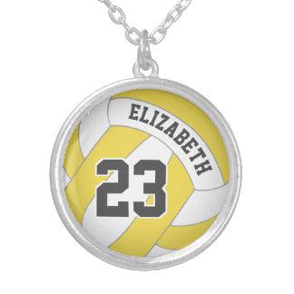 spelare namn/jersey numrerar NÅGON färgvolleyboll Silverpläterat Halsband