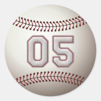 Spelare numrerar 05 - kall baseball syr runda klistermärken