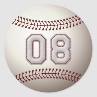 Spelare numrerar 08 - kall baseball syr runda klistermärken