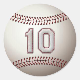 Spelare numrerar 10 - kall baseball syr rund klistermärke