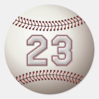 Spelare numrerar 23 - kall baseball syr rund klistermärke