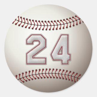 Spelare numrerar 24 - kall baseball syr rund klistermärke