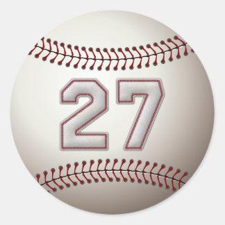 Spelare numrerar 27 - kall baseball syr runda klistermärken