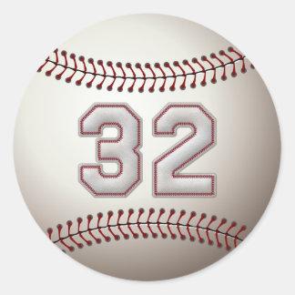 Spelare numrerar 32 - kall baseball syr rund klistermärke