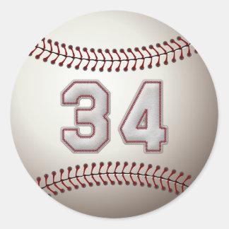 Spelare numrerar 34 - kall baseball syr rund klistermärke