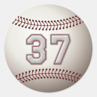 Spelare numrerar 37 - kall baseball syr runda klistermärken