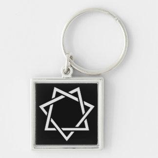 Spetsig stjärna sju fyrkantig silverfärgad nyckelring