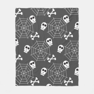 Spindelnät döskallar, crossbonesmönster Halloween Fleecefilt