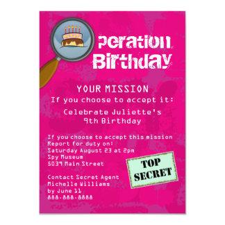 Spion/hemlig/speciell agentfödelsedagsfest 11,4 x 15,9 cm inbjudningskort