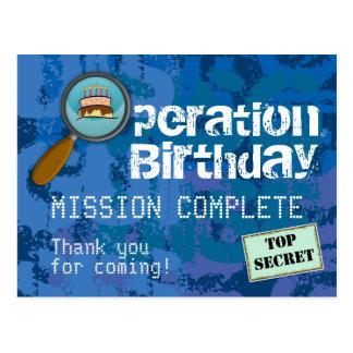 Spion/hemligt/speciellt agentfödelsedagtack vykort