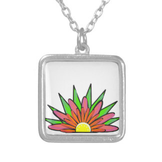 Spira blom- design silverpläterat halsband