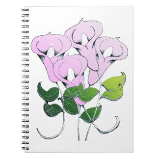 Spiral anteckningsbok med liljaillustrationen