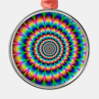 Spiral optisk illusion för regnbåge julgransprydnad metall