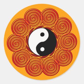 Spiral Yin Yang sol Runt Klistermärke