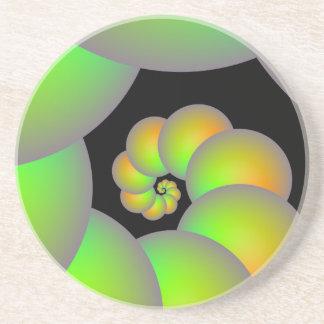 Spirala Spheres i grönt- och gultkustfartyg Underlägg Sandsten