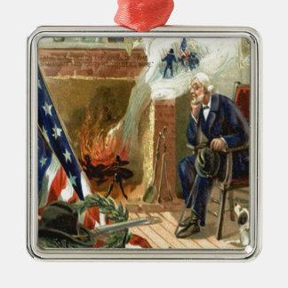 Spis för veteran för hund för US-flaggakran Silverfärgad Fyrkantigt Julgransprydnad