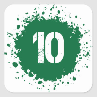 Splatter för grönt #10 fyrkantigt klistermärke