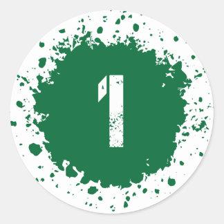 Splatter för grönt #1 runt klistermärke