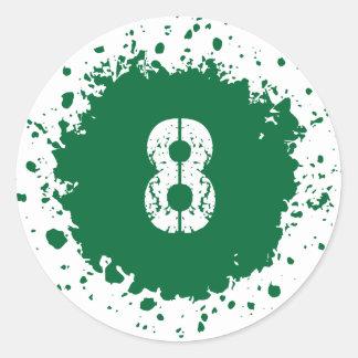 Splatter för grönt #8 runt klistermärke