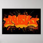 Splatter för Musik orangegult Poster